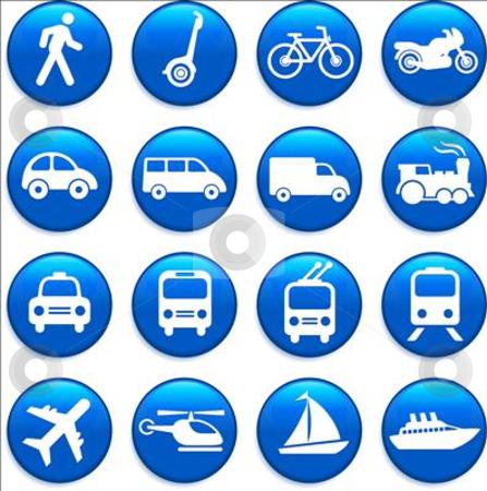Transportation icons design elements stock vector clipart, Original vector illustration: Transportation icons design elements by L Belomlinsky