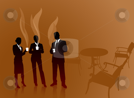 Business team on coffee break internet background stock vector clipart,  by L Belomlinsky