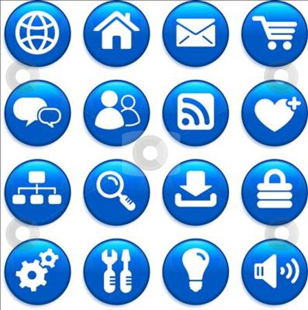 Internet design icon set stock vector clipart, Original vector illustration: internet design icon set by L Belomlinsky