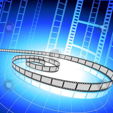 Film strip on blue background stock vector clipart, Origianl Vector Illustration: Film strip on blue background File is AI8 compatible by L Belomlinsky