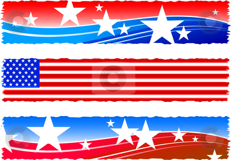 Independence Day patriotic banners stock vector clipart,  by L Belomlinsky