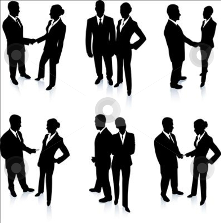 Business Team Silhouette Collection stock vector clipart, Business Team Silhouette Collection Original Vector Illustration People Silhouette Sets by L Belomlinsky