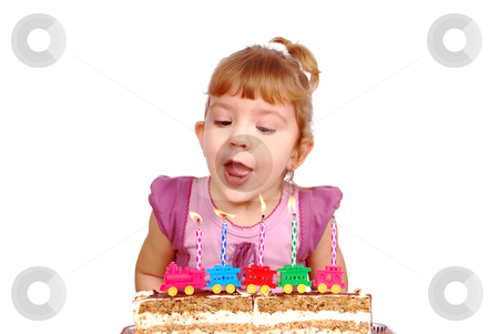 Little girl with birthday candles and cake stock photo, Little girl with birthday candles and cake by Goce Risteski