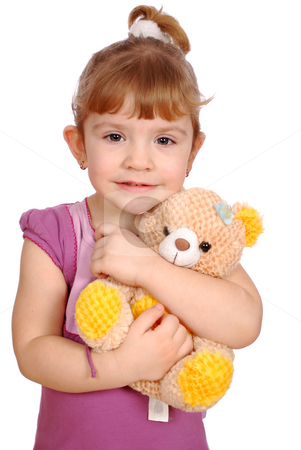 Little girl with teddy bear toy stock photo, Little girl with teddy bear toy by Goce Risteski