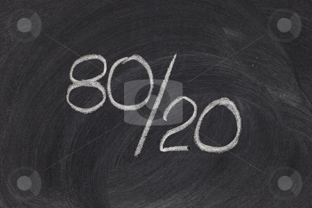 Pareto principle, eighty-twenty rule  stock photo, Pareto principle or eighty-twenty rule represented on a blackboard - white chalk handwriting by Marek Uliasz