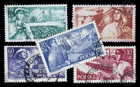 Sea related professions on vintage stamps stock photo, POLAND, circa 1960 - sea related professions (sailor, fisherman, shipyard worker, captain, docker) on a set of vintage post stamps by Marek Uliasz
