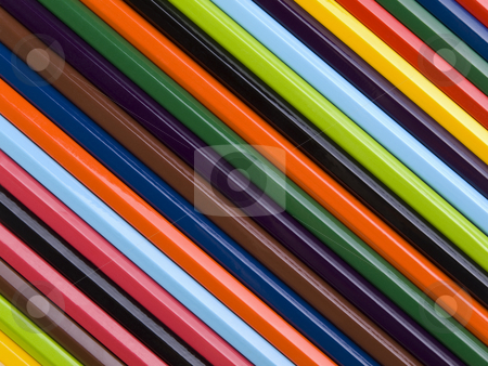 Pencil rainbow stock photo, Top view of assorted color pencils disposed one next to the other. by Ignacio Gonzalez Prado