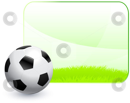 Soccer Ball with Blank Nature Frame Background stock vector clipart, Soccer Ball with Blank Nature Frame Background Original Vector Illustration AI8 Compatible by L Belomlinsky