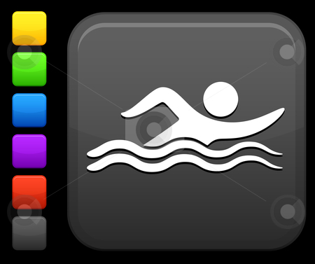 Swimming icon on square internet button stock vector clipart, Original vector icon. Six color options included. by L Belomlinsky