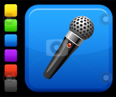 Microphone  icon on square internet button stock vector clipart, Original vector icon. Six color options included. by L Belomlinsky