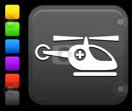 Medical helicopter icon on square internet button stock vector clipart, Original vector icon. Six color options included. by L Belomlinsky