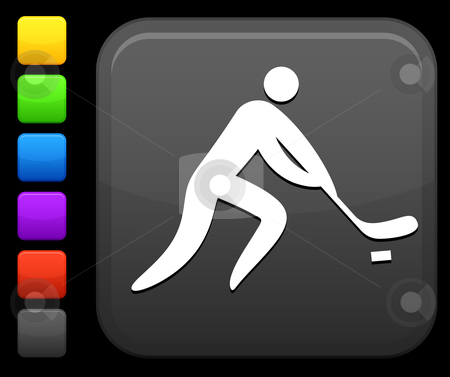 Hockey icon on square internet button stock vector clipart, Original vector icon. Six color options included. by L Belomlinsky