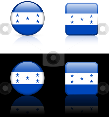 Honduras Flag Buttons on White and Black Background stock vector clipart, Honduras Flag Buttons on White and Black Background Original Vector Illustration AI8 Compatible by L Belomlinsky