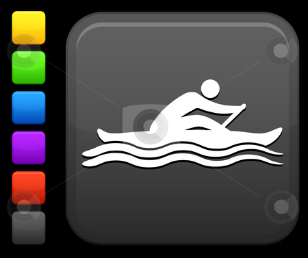 Sports rowing icon on square internet button stock vector clipart, Original vector icon. Six color options included. by L Belomlinsky