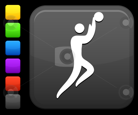 Basketball icon on square internet button stock vector clipart, Original vector icon. Six color options included. by L Belomlinsky