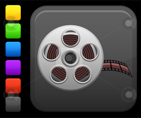 Video film icon on square internet button stock vector clipart, Original vector icon. Six color options included. by L Belomlinsky