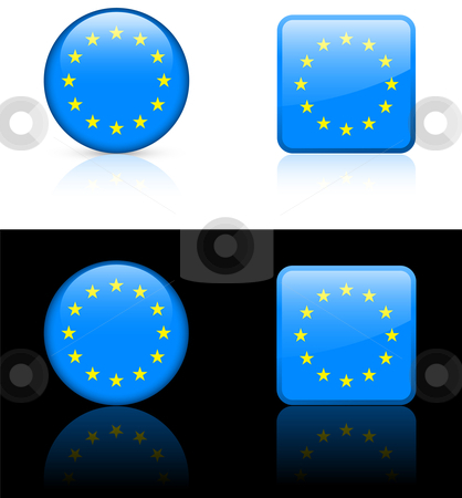 European union Flag Buttons on White and Black Background ...