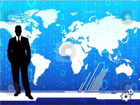 Young businessman on world map background stock vector clipart,  by L Belomlinsky