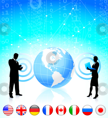 Business couple with globe and internet flag buttons stock vector clipart, Business couple with globe and internet flag buttons Original Vector Illustration by L Belomlinsky