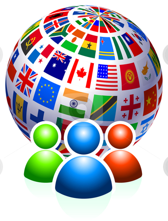 User Group with Flags Globe stock vector clipart, Original Vector Illustration by L Belomlinsky