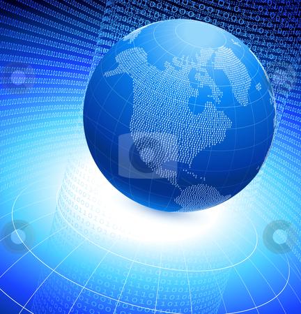 Binary globe on blue background stock vector clipart,  by L Belomlinsky