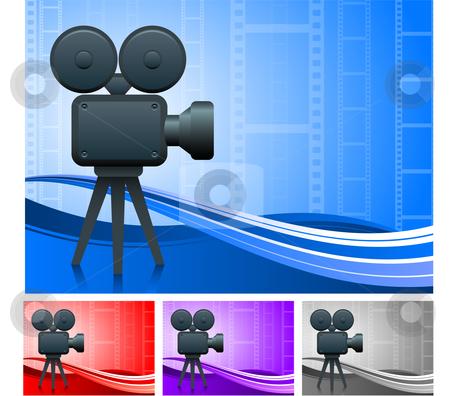 Film Camera Set stock vector clipart, Film Camera Set Original Vector Illustration Film Reel Concept by L Belomlinsky