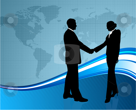Business greeting with world map stock vector clipart,  by L Belomlinsky