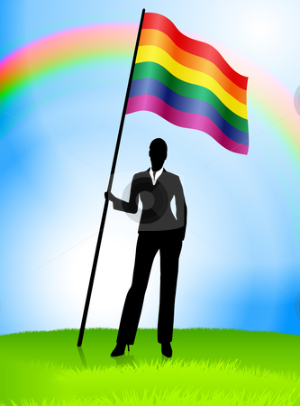 Businesswoman Leader Holding Gay Flag stock vector clipart, Businesswoman Leader Holding Gay Flag Original Vector Illustration AI8 Compatible by L Belomlinsky