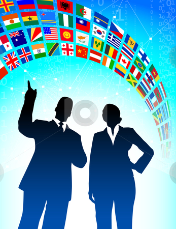 Business Team with Flags Banner stock vector clipart, Business Team with Flags Banner Original Vector Illustration by L Belomlinsky