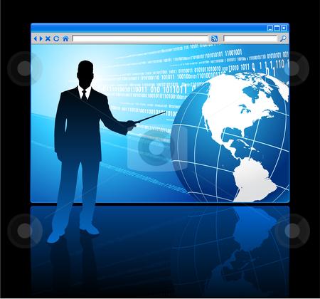 Businessman presenting Internet Browser with Globe stock vector clipart, Businessman presenting Internet Browser with Globe Original Vector Illustration Businessmen Concept by L Belomlinsky