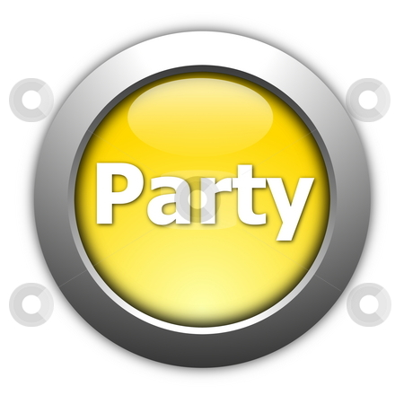Party and fun button stock photo, Party and fun button isolated on white background by Gunnar Pippel