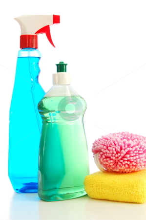 Isolated cleaning supplies stock photo, Isolated cleaning supplies for clean and hygienic household by Gunnar Pippel