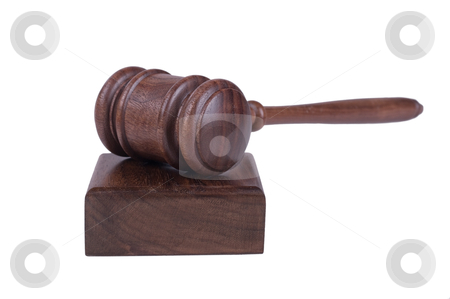 Gavel on white background stock vector clipart, Image of a judges gavel isolated on white background by Phil Morley