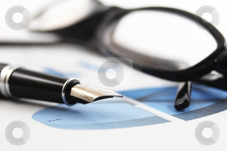 Business  stock photo, Business or finance still life with pen and chart by Gunnar Pippel