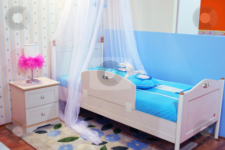 Blue children room stock photo, Blue children room by Goce Risteski