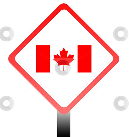 Canada flag road sign stock photo, Canadian flag on road sign isolated on white background with copy space. by Martin Crowdy