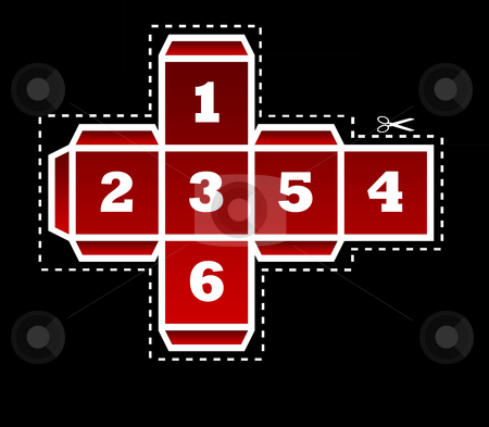 Folding dice template stock photo, Folding template for red dice in two dimensions, isolated on black background. by Martin Crowdy