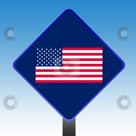 United States of America flag sign stock photo, United States of American flag road sign with copy space and sky background. by Martin Crowdy