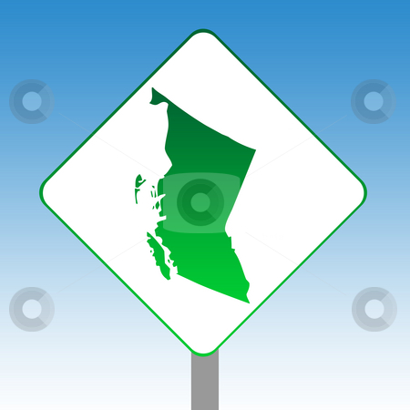 British Columbia map road sign stock photo, Canadian state of British Columbia map road sign in green isolated on white with blue sky background. by Martin Crowdy