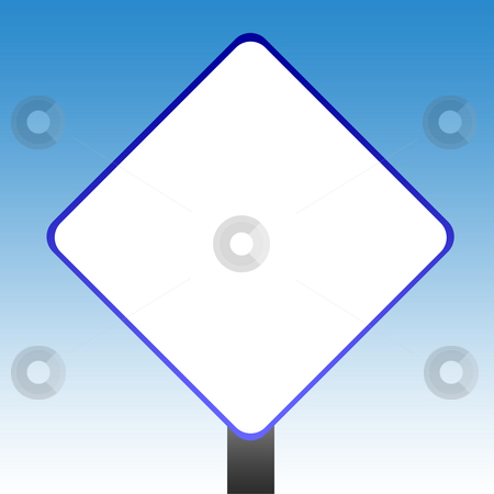 Blank blue sign stock photo, Blank blue road sign with copy space and sky background. by Martin Crowdy