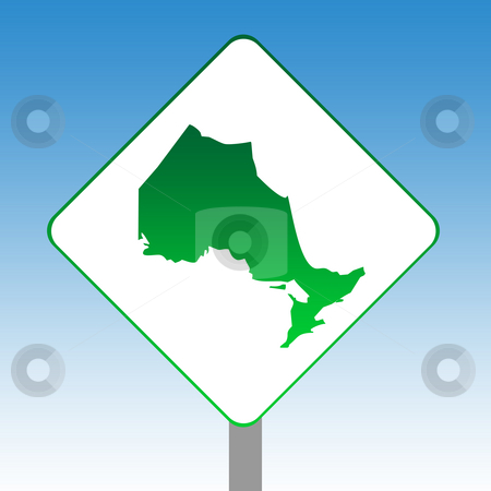 Ontario map road sign stock photo, Canadian state of Ontario map road sign in green isolated on white with blue sky background. by Martin Crowdy