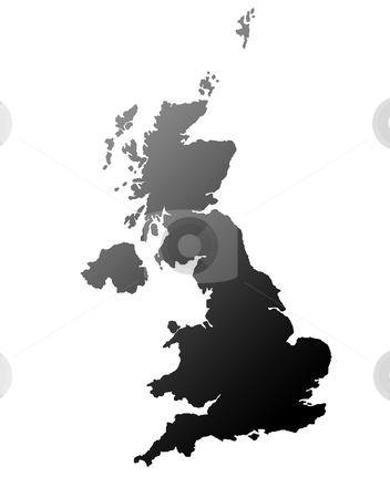 United Kingdom map stock photo, Silhouetted black map of United Kingdom, isolated on white background. by Martin Crowdy