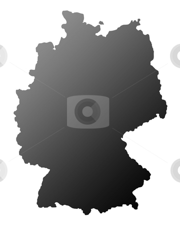 Germany silhouetted map stock photo, Silhouetted map of Germany, isolated on white background. by Martin Crowdy
