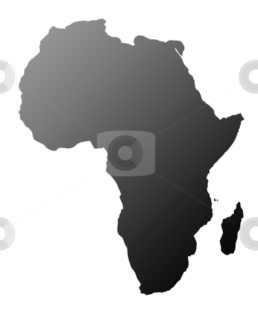 Africa silhouette stock photo, Silhouette of African continent, isolated on white background. by Martin Crowdy