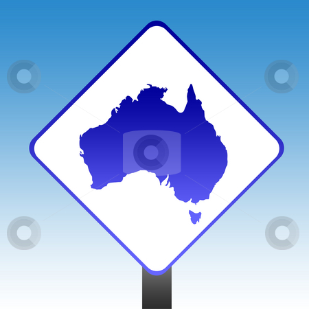 Australia Sign stock photo, Australia road sign with blue sky background. by Martin Crowdy