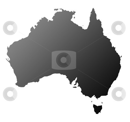 Australia silhouette stock photo, Silhouetted map of Australia, isolated on white background. by Martin Crowdy