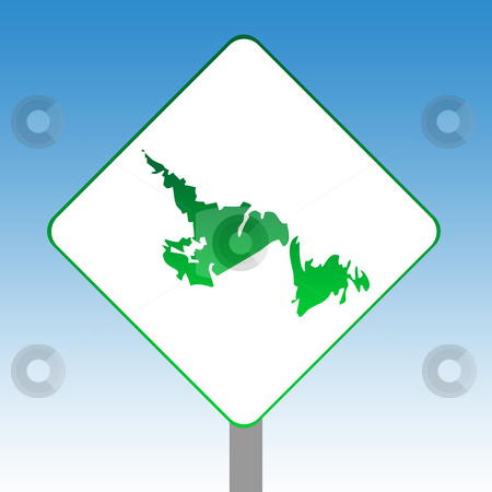 Newfoundland map road sign stock photo, Canadian state of Newfoundland map road sign in green isolated on white with blue sky background. by Martin Crowdy