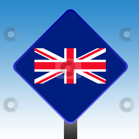 Union Jack sign stock photo, Union Jack flag road sign with copy space and sky background. by Martin Crowdy