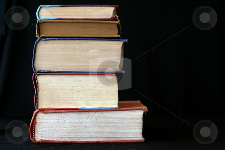 Big stack stock photo, Stack  of five old books seen from the side by Stephen Orsillo