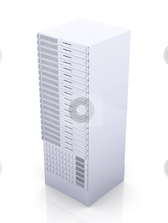 19inch Server tower stock photo, 3D rendered Illustration. Isolated on white. by Michael Osterrieder